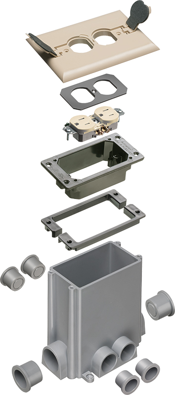 CONCRETE FLOOR BOX-L.ALM W/ FLIP LIDS