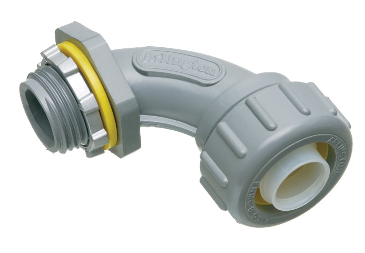 Arlington NMLT90200 UV Rated Non-Metallic PVC 90 Degree Connector / Conduit Fitting; 1 1/2 In